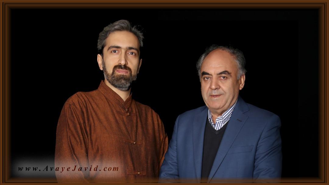 استاد علی اصغر شاهزیدی به همراه آقای حمیدرضا فرهنگ از شاگردان ارشد استاد